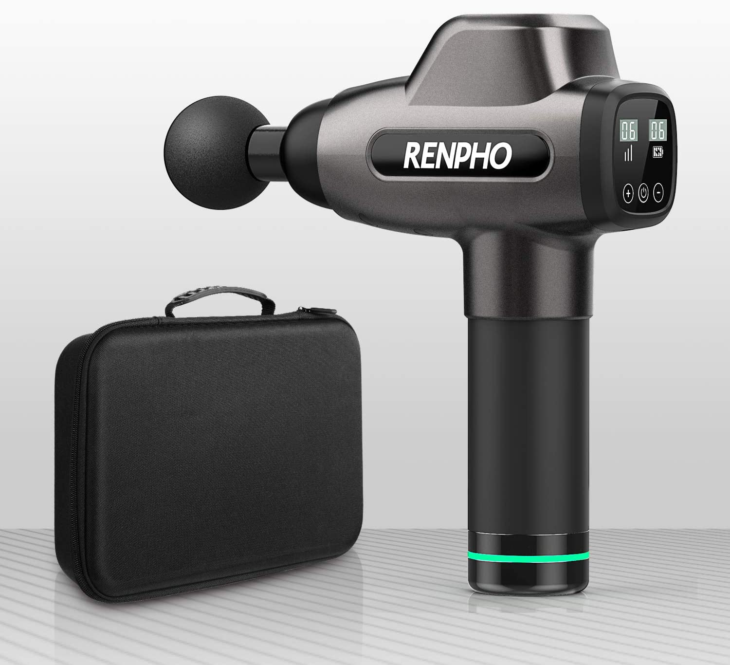 [US Direct] RENPHO Massage Gun, RENPHO C3 Deep Tissue Muscle Massager, Powerful Percussion Massager Handheld with Portable Case for Home Gym Workouts Equipment