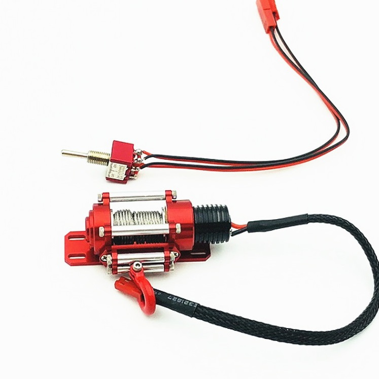 Metal Steel Wired Automatic Simulated Winch Toy for 1/10 Traxxas HSP Redcat HPI TAMIYA Axial SCX10 RC4WD D90 RC Car Red chassis