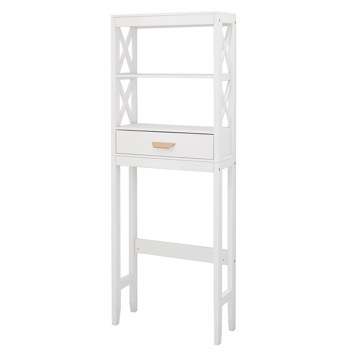 [US Direct] Over-the-Toilet Storage Cabinet White with one Drawer and 2 Shelves Space Saver Bathroom Rack