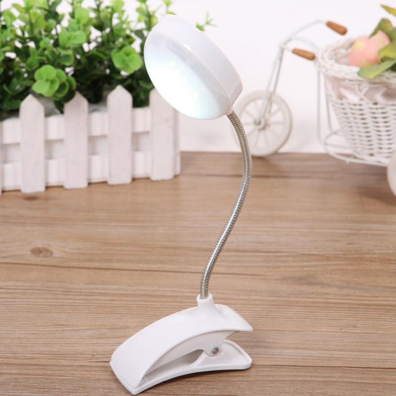 Clip-on Flexible LED Table Lamp Reading Study Bedside Laptop Desk Bright Light Nightlight white