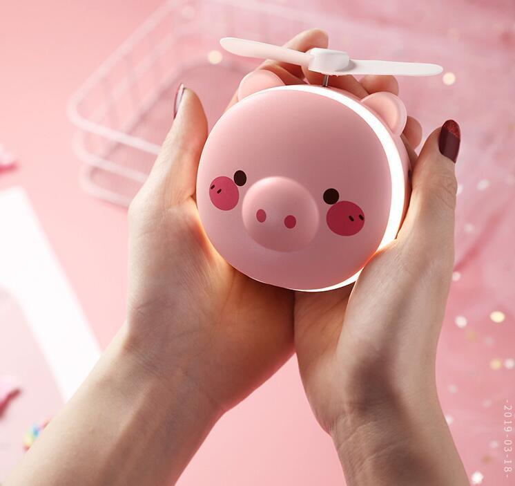 Portable Handheld Fan with LED Fill Light Makeup Mirror Mini USB Charging Fan Round eye pig makeup mirror fan_8.5 * 3.5 * 10