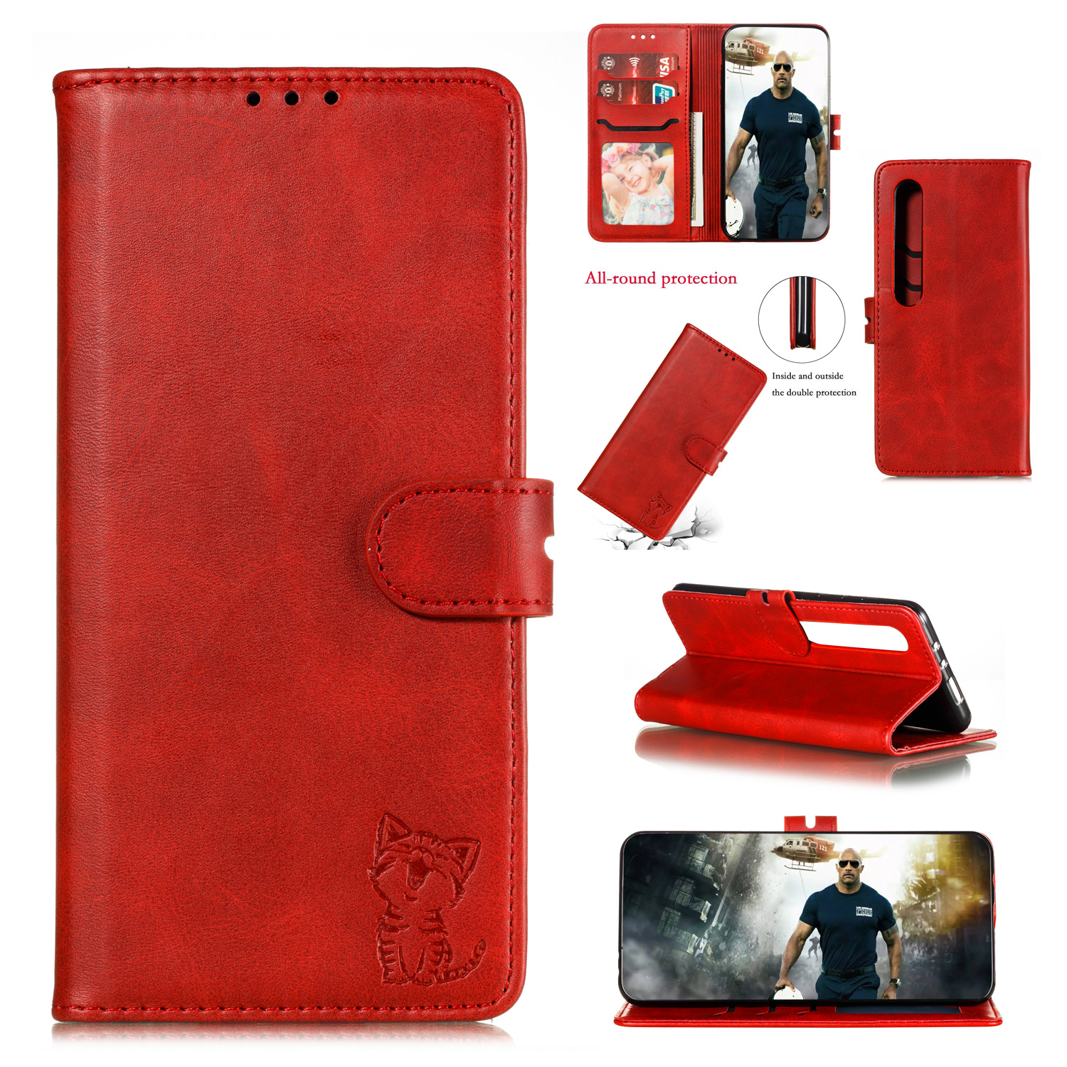 For XiaoMI 10 Pro Mobile Phone Cover PU Leather Front Buckle Smart Shell Anti-fall Phone Case 4 red