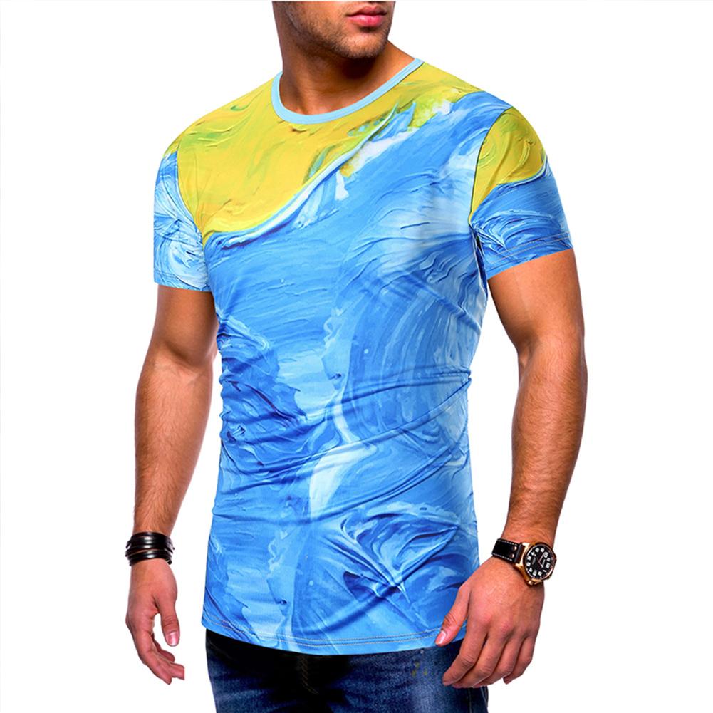 Men's Shirt Short-sleeve Casual Painting 3d Printing Slim T-shirt Blue _M