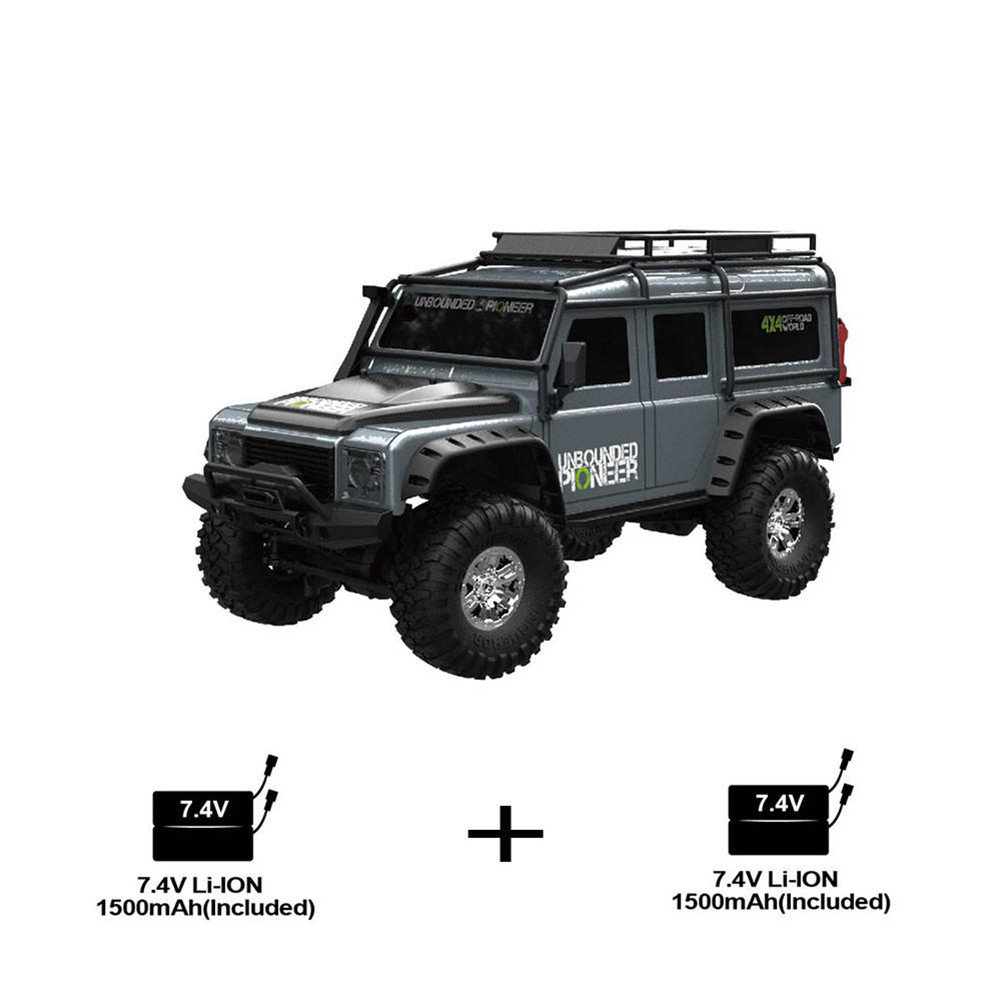 1/2 Battery HB ZP1001 1/10 2.4G 4WD Rc Rally Car Proportional Control Retro Vehicle LED Light RTR Model Outdoor Toys   gray_Double battery