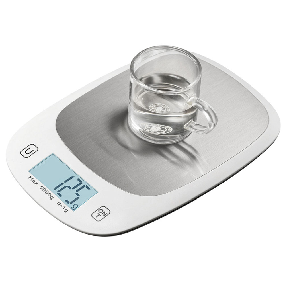 Digital Kitchen Scale  5000g/1g Stainless Steel Electric Kitchen Food Scale High-precision Baking Scale LCD Backlight Display white
