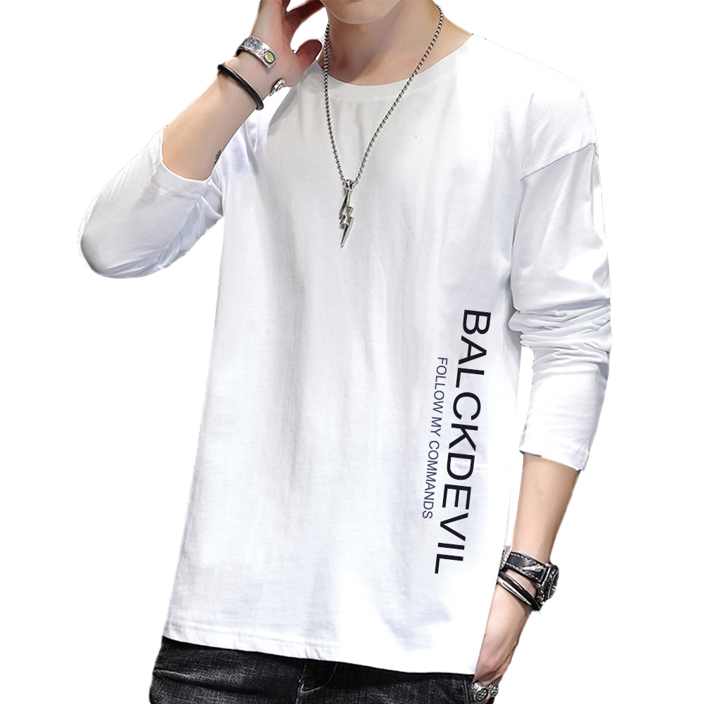 Men's T-shirt Autumn Long-sleeve Thin Type Loose Bottoming Shirt white_3XL