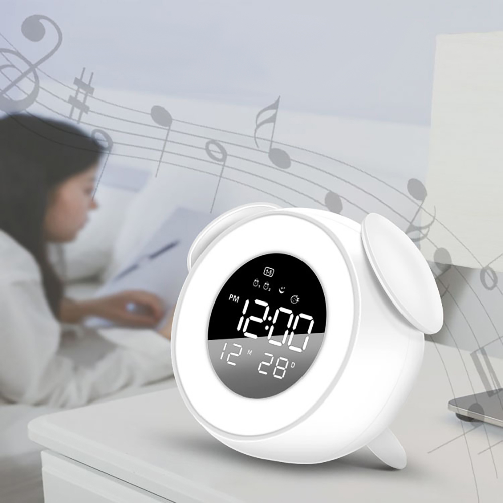 Music LED Alarm Clock Children Alarm Clock Night Light Sleep Sounds Machine Children Cartoon Bedside Lamp white