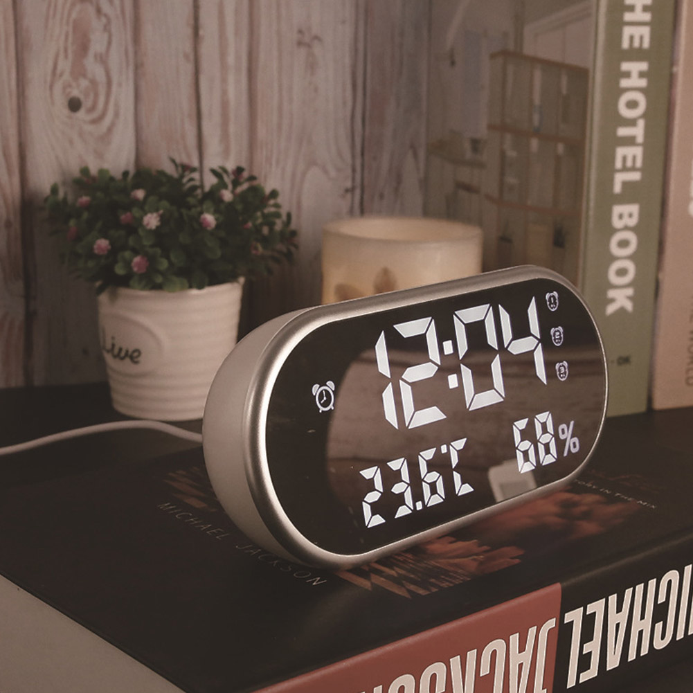 HD LED Digital Alarm Clock Dual USB Temperature Humidity Display Mirror with Backlight  white light