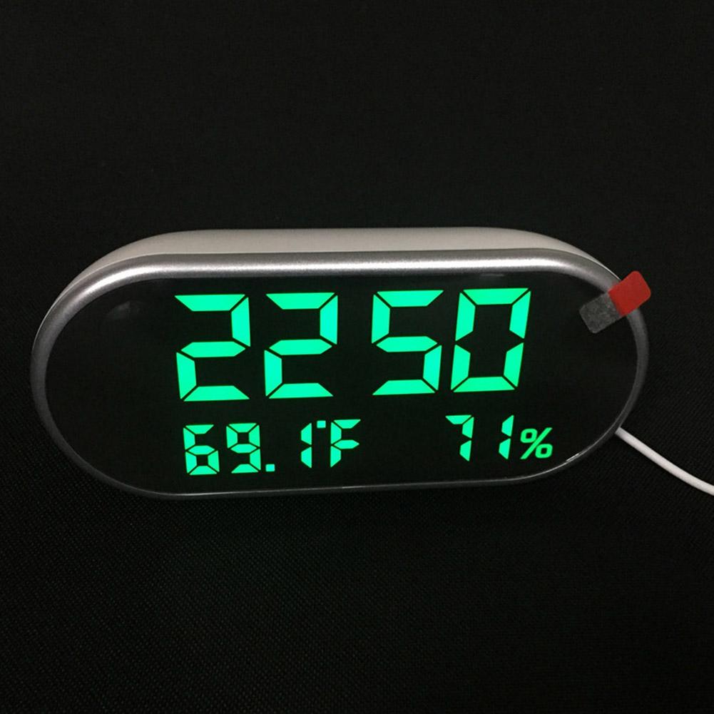 HD LED Digital Alarm Clock Dual USB Temperature Humidity Display Mirror with Backlight  green light