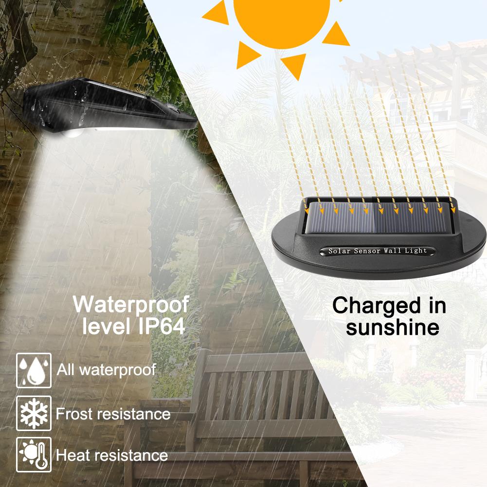 4 Pack Outdoor 30 LED Solar Powered Wall Light, Motion Sensor Solar Lights  Easy Install IP64 Waterproof for Front Door, Back Yard, Driveway, Garage