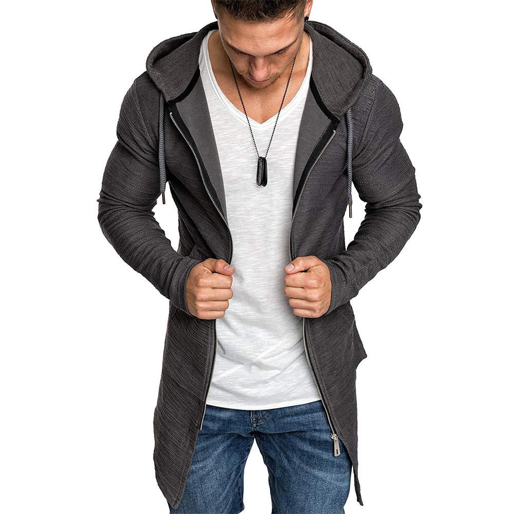 Men Fashion Slim Medium Long Dovetail Wind Coat Zipper Sweatshirts Cardigan gray_M