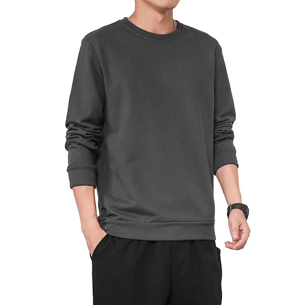 Men Spring Autumn Sweatshirts Casual Fashion Round Collar Coat Dark gray_L