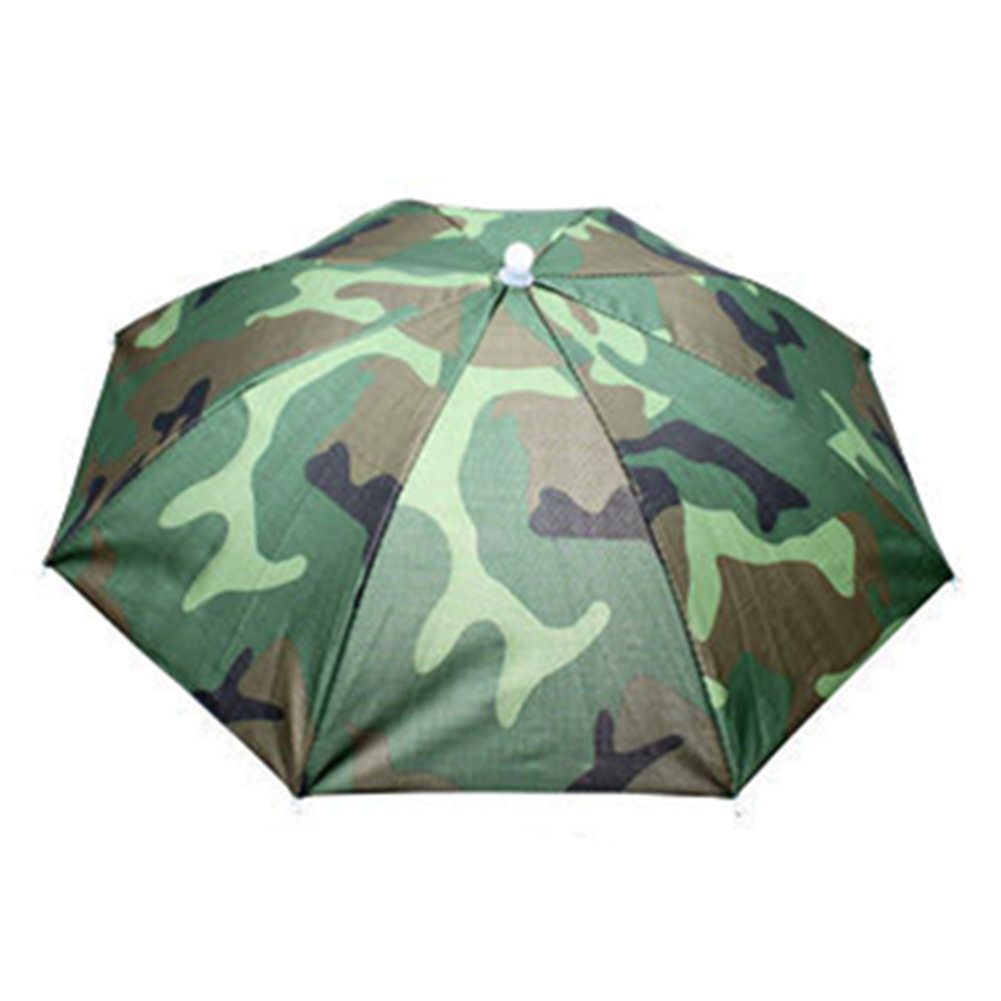 55cm Umbrella Hat Foldable Sunscreen Camping Fishing Hiking Headwear Cap Sun Rain Umbrellas Camouflage_55cm