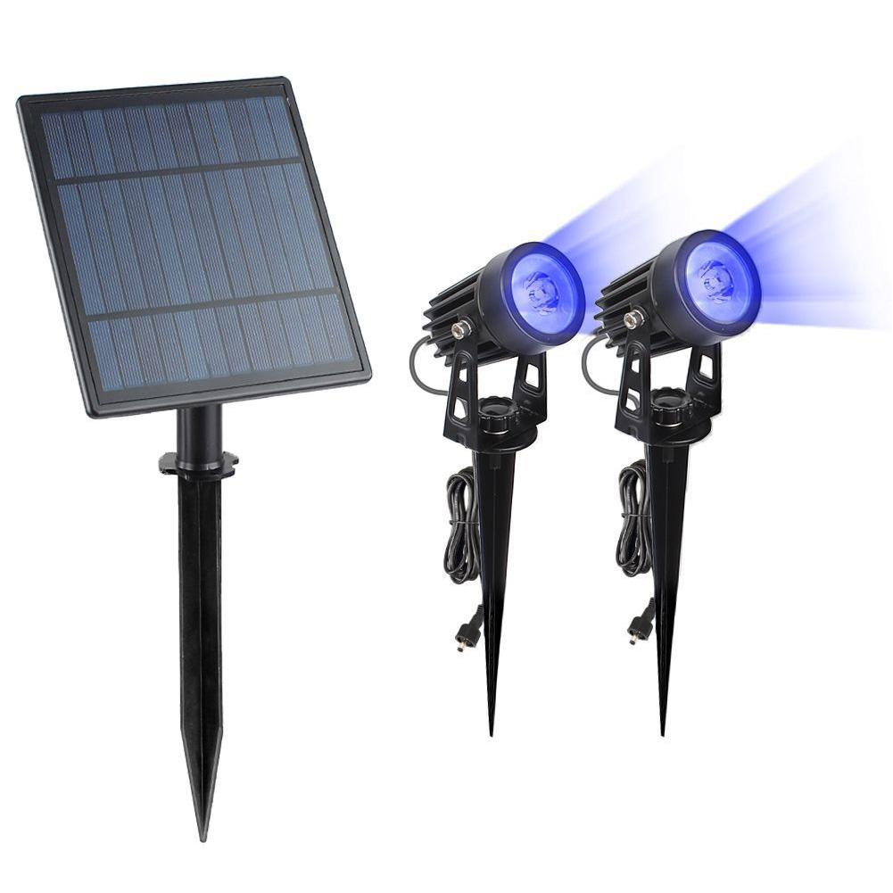 Solar Powered LED Lawn Light Waterproof Outdoor Landscape Patio Garden Lawn Solar Spotlight Lamp 1 drag 2 6W Blu-ray