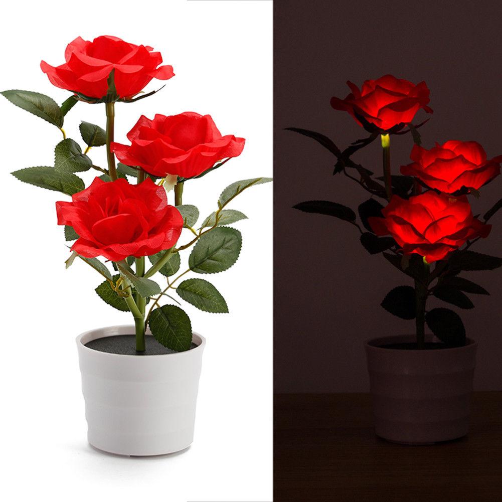 Solar Power 3 LED Rose Flower Lamp Landscape Night Light Sensor Lamp Home Decor Bright red