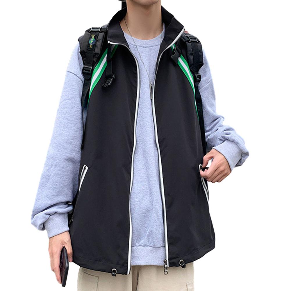 Men's Vest Autumn Loose Color Matching Large Size Casual Waistcoat Vest Black _M