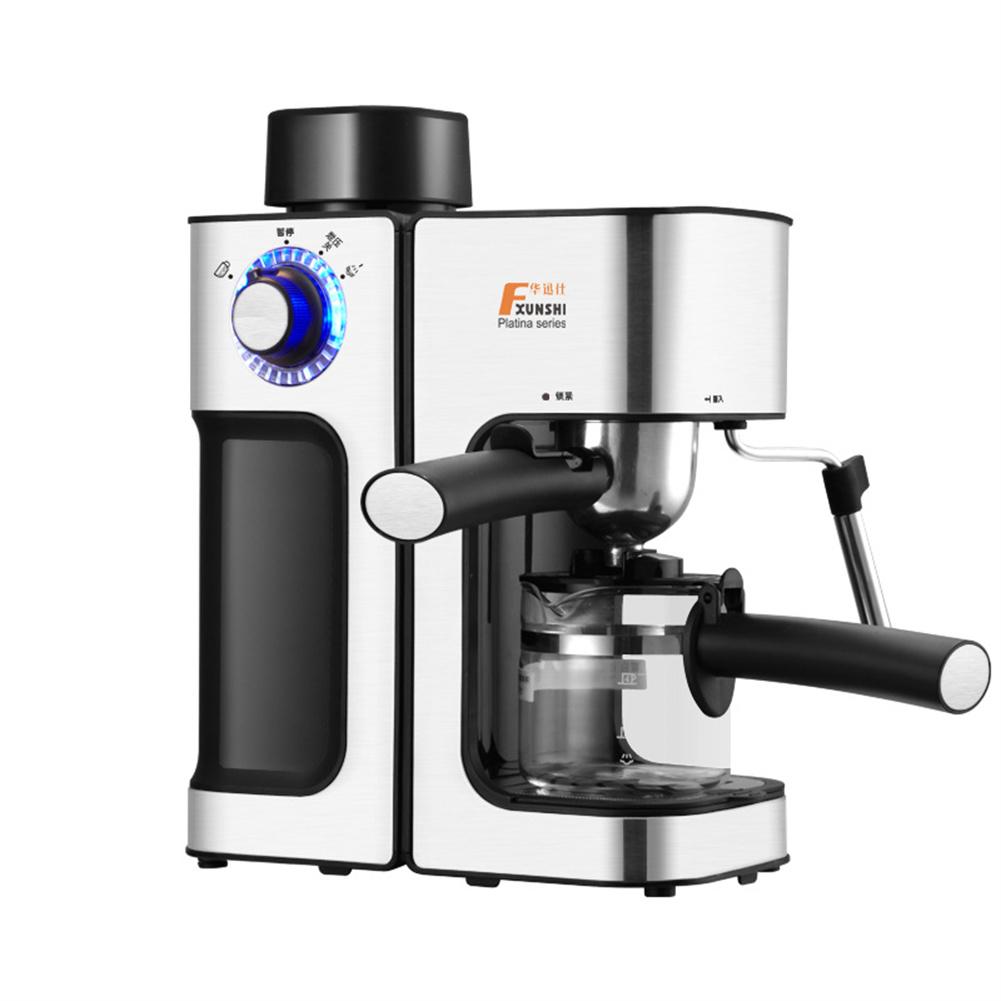 1set Steam-type Coffee  Machine Automatic Milk Froth Espresso Coffee Maker Silver gray