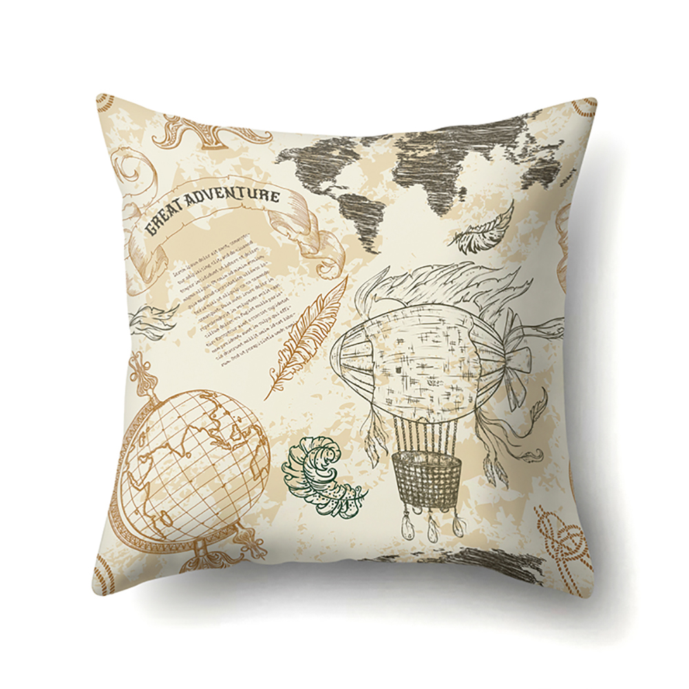 Square World Map Compass Pillowcase Cushion Throw Pillow Cover Printed Living Room Sofa Pillow Case 45*45cm CCA419(4)