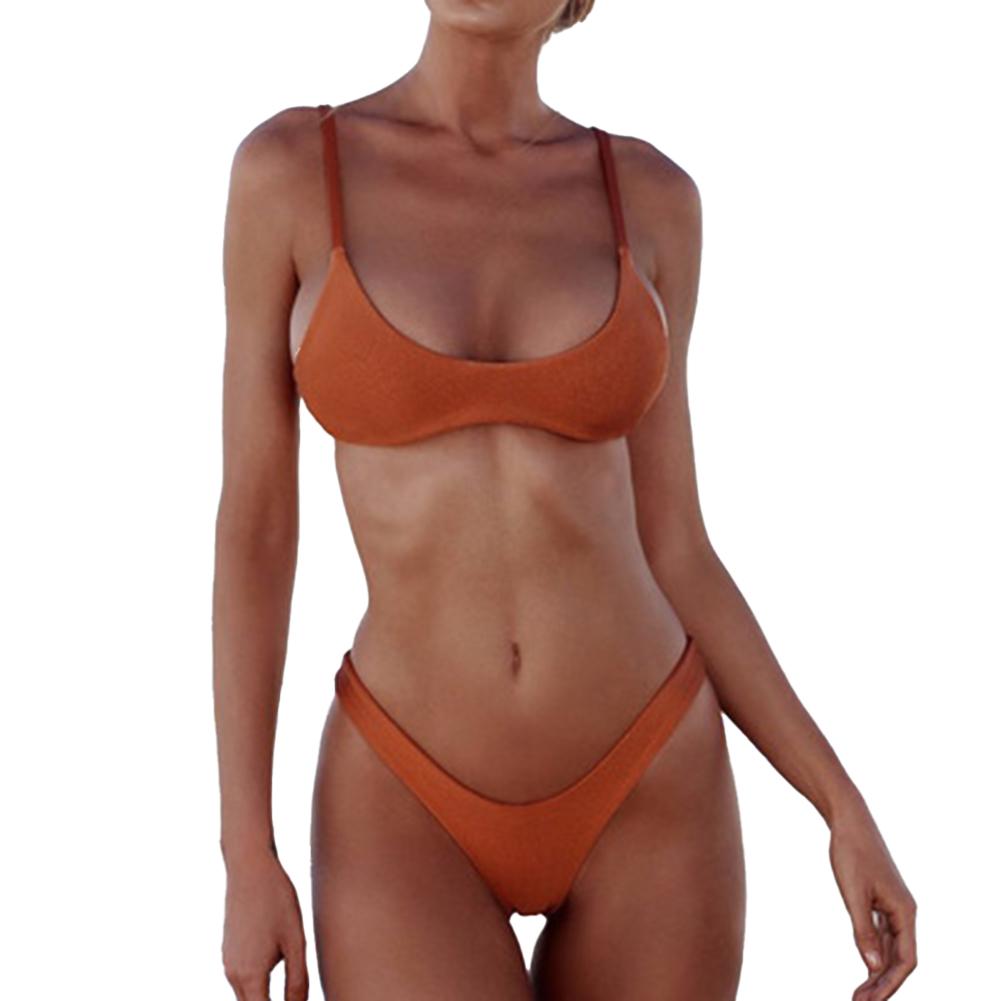 2 Pcs/set Women  Sexy  Bikini Solid Color Fashion Split Two-piece Swimwear Bathing Suit Orange_S