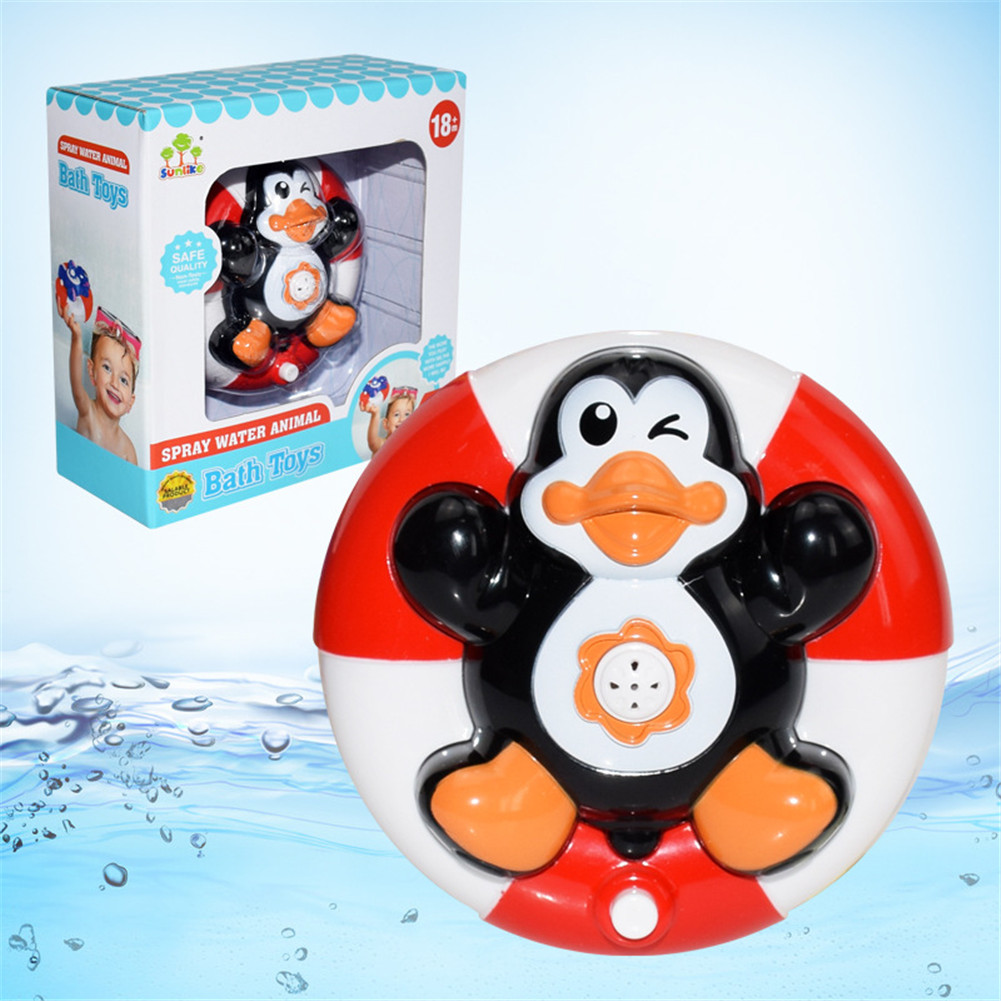 Baby Bath Cute Toy Electric Doll Water Game Tool Gifts of Children's Day Black penguin