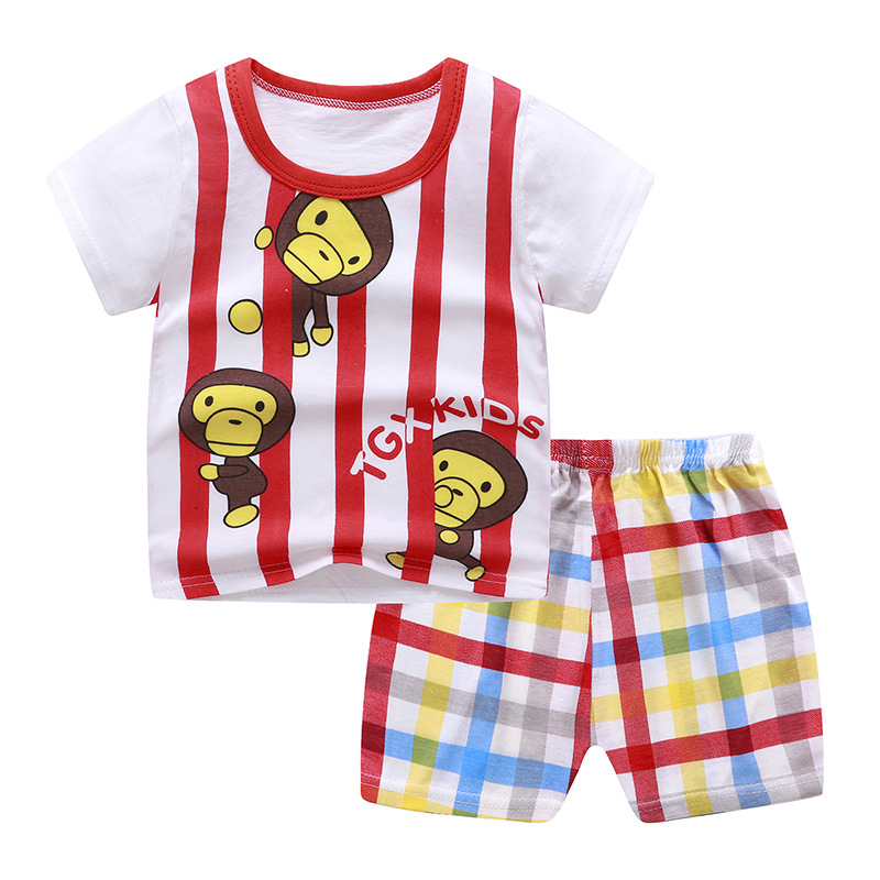 2Pcs/set Baby Suit Cotton T-shirt + Shorts Cartoon Short Sleeve for 6 Months-4 Years Kids Monkeys_90 (60 yards)