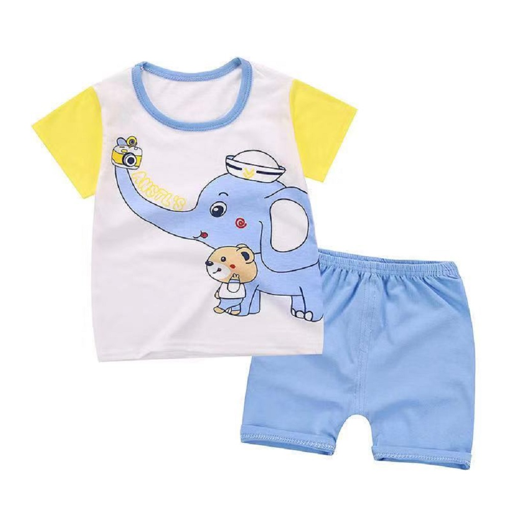 2Pcs/set Baby Suit Cotton T-shirt + Shorts Cartoon Short Sleeve for 6 Months-4 Years Kids Elephant_100 (65 yards)