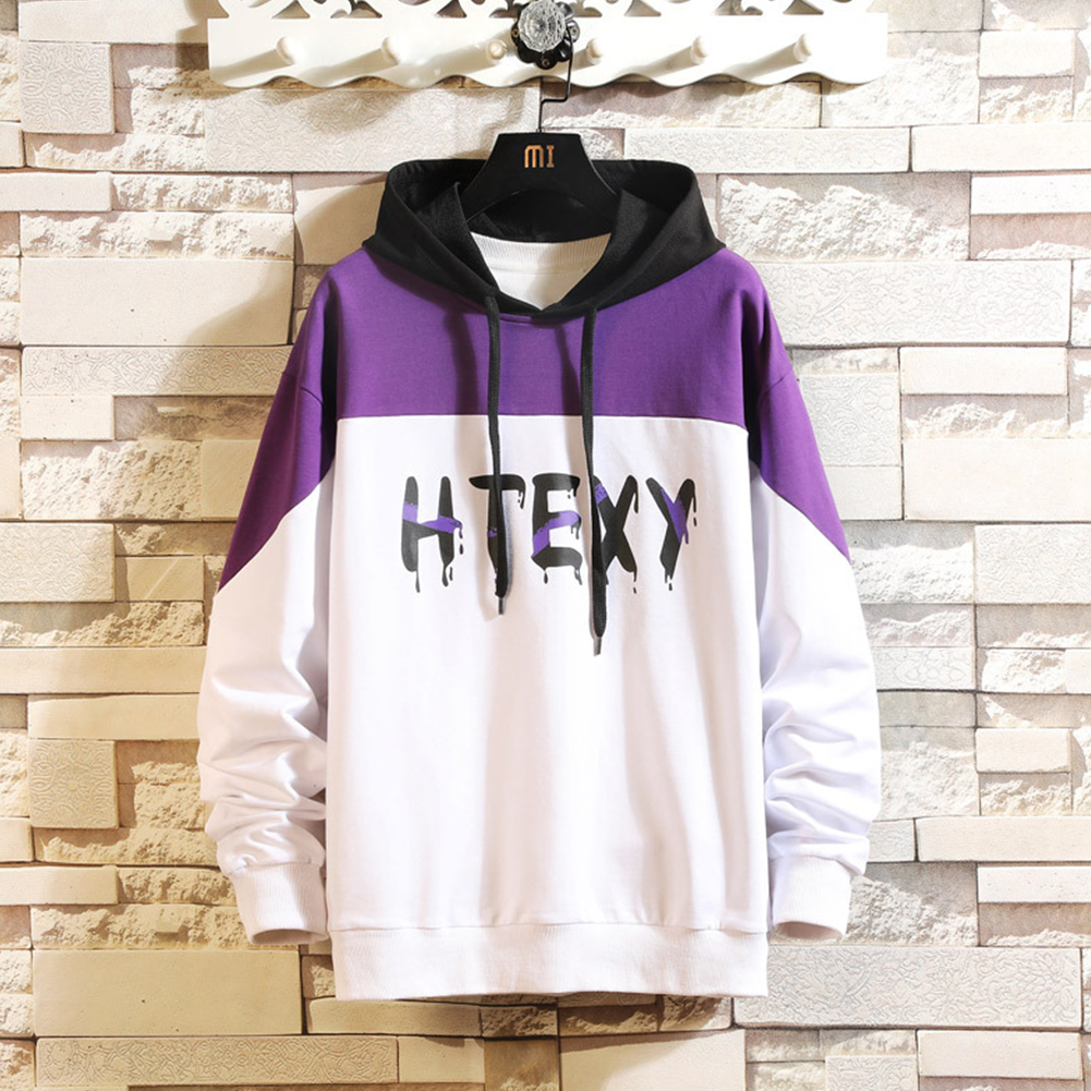 Contrast Color Hoodies Sweater with Letters Decor Casual Loose Pullover for Man white_3XL