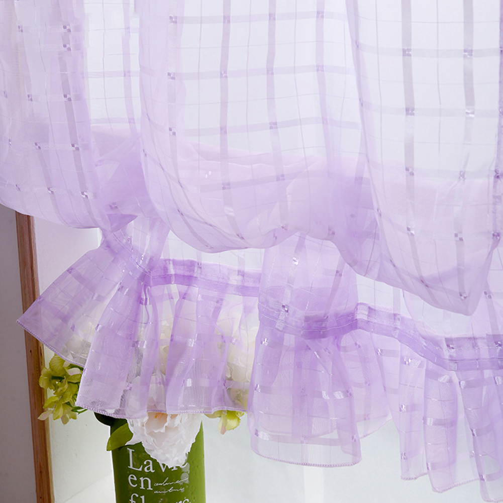 Short Tulle Curtains for Living Room Window Decorative Drapes purple_1 meter wide x 1.4 meters high