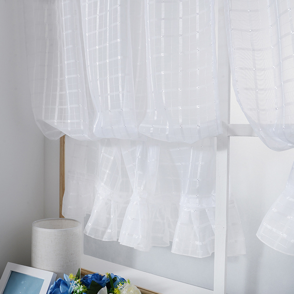 Short Tulle Curtains for Living Room Window Decorative Drapes white_1 meter wide x 1.4 meters high