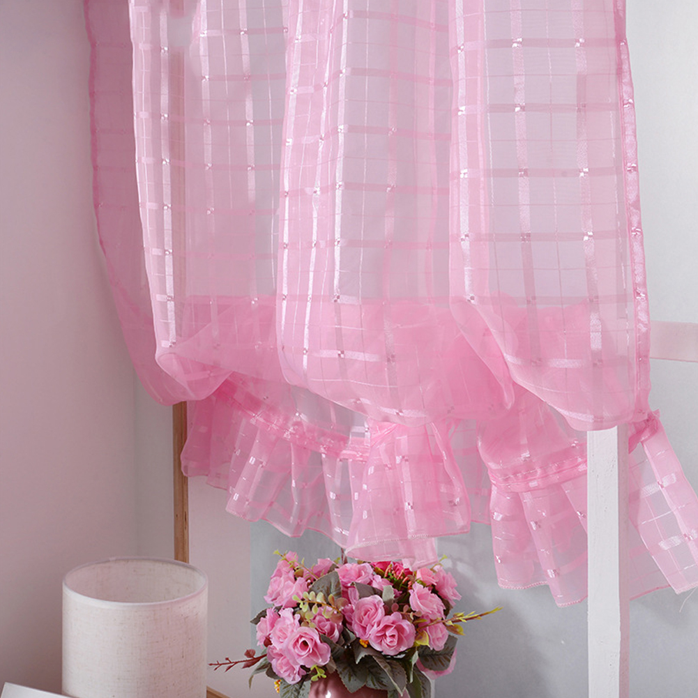 Short Tulle Curtains for Living Room Window Decorative Drapes Pink_1 meter wide x 1.4 meters high