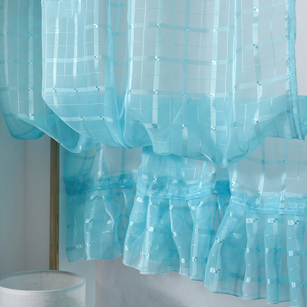 Short Tulle Curtains for Living Room Window Decorative Drapes sky blue_1 meter wide x 1.4 meters high