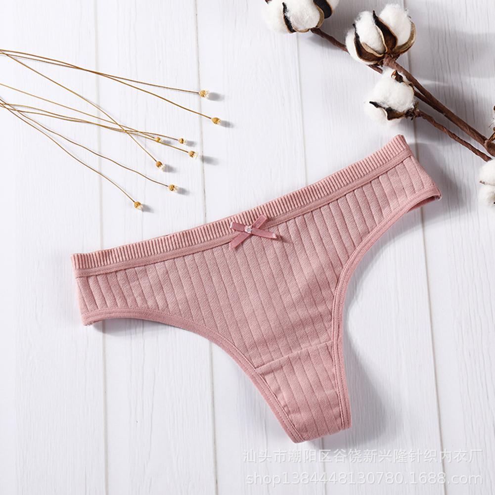Women Cotton Briefs G-string Strip Seamless Low Waist Solid Color Sexy Underwear Panties dark pink_M