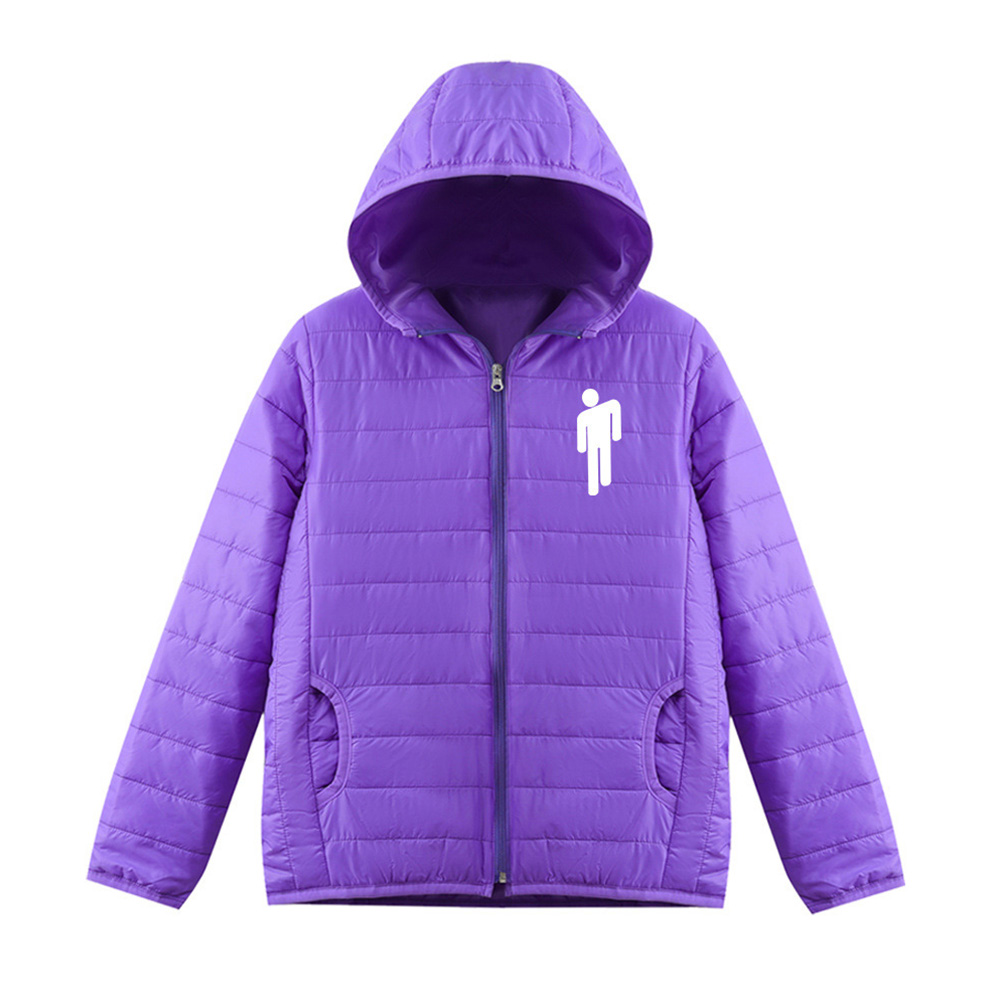 Thicken Short Padded Down Jackets Hoodie Cardigan Top Zippered Cardigan for Man and Woman Purple A_M