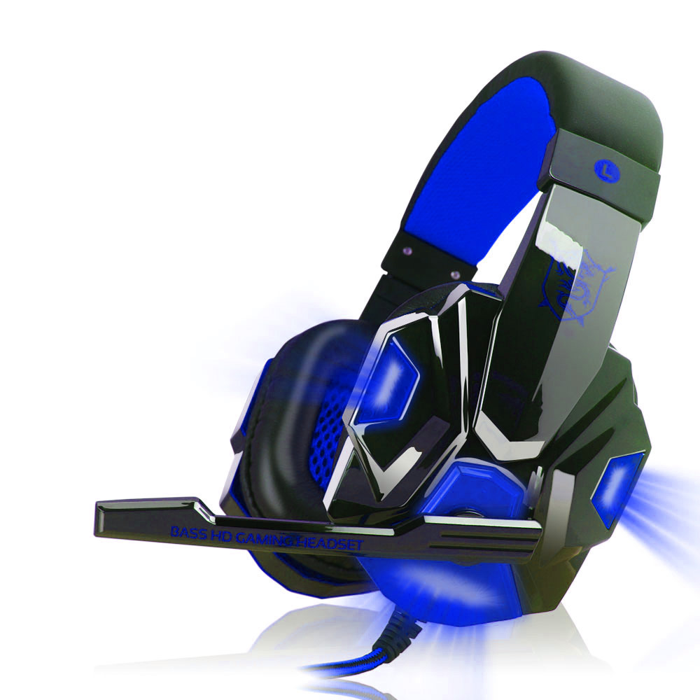 2.2M PC780 Gaming Headsets with Light Mic Stereo Earphones Deep Bass for PC Computer Gamer Laptop Black blue glow