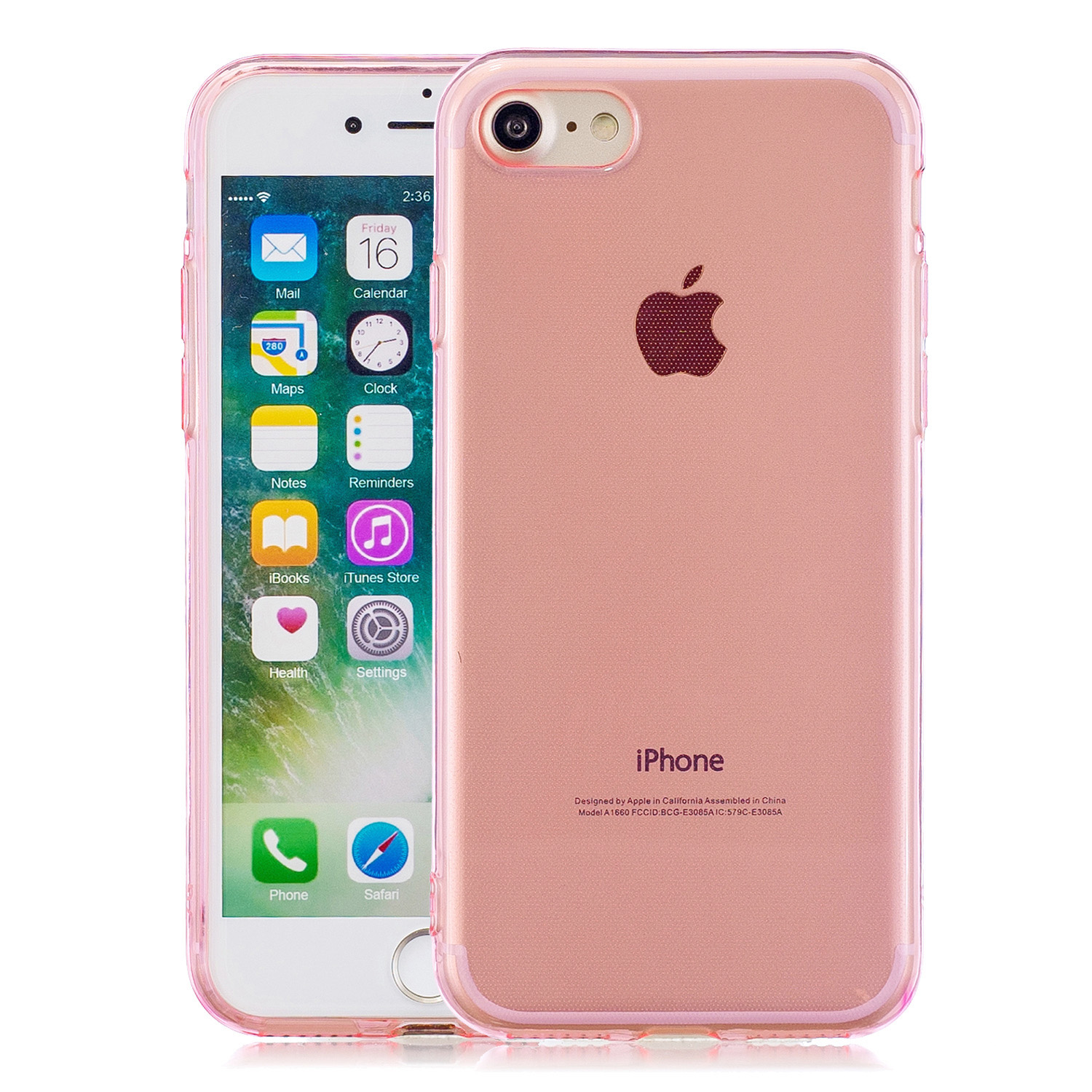for iPhone 6/6S / 6 Plus/6S Plus / 7/8 / 7 Plus/8 Plus Clear Colorful TPU Back Cover Cellphone Case Shell Pink