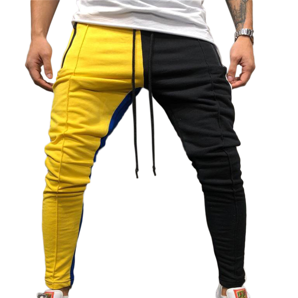 Men Jogger Stadium Gymnasium Colorful Striped Casual Matching Color Pants  Yellow black_L