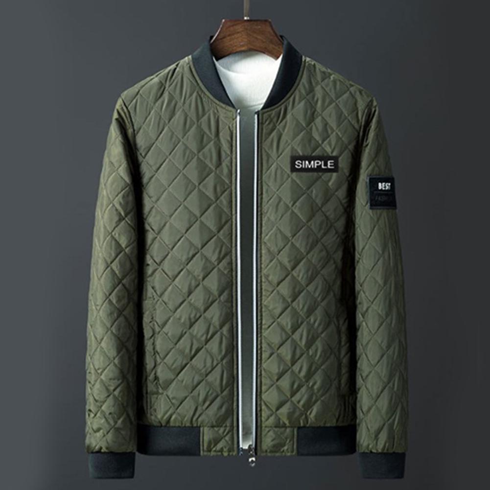 Men Winter Fashion Down Cotton Jacket Collar Jacket Cotton Coat Tops ArmyGreen_L