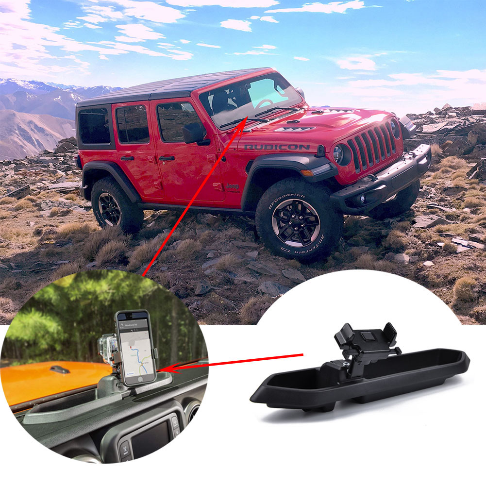 Multi-Mount System Kit Phone Holder for Jeep Wrangler JL2018-2019 black_A1748