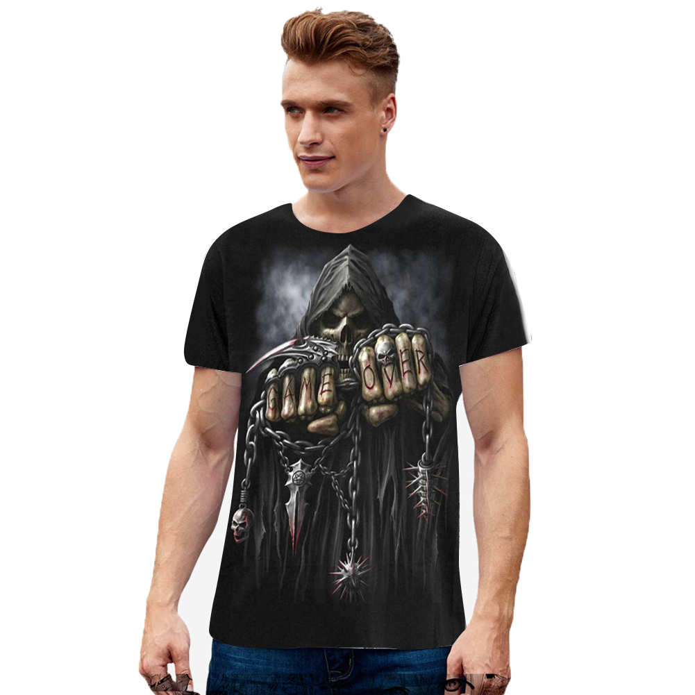 Unisex Casual Round Collar 3D Skull Digital Printed Soft Cotton T-shirt as shown_L