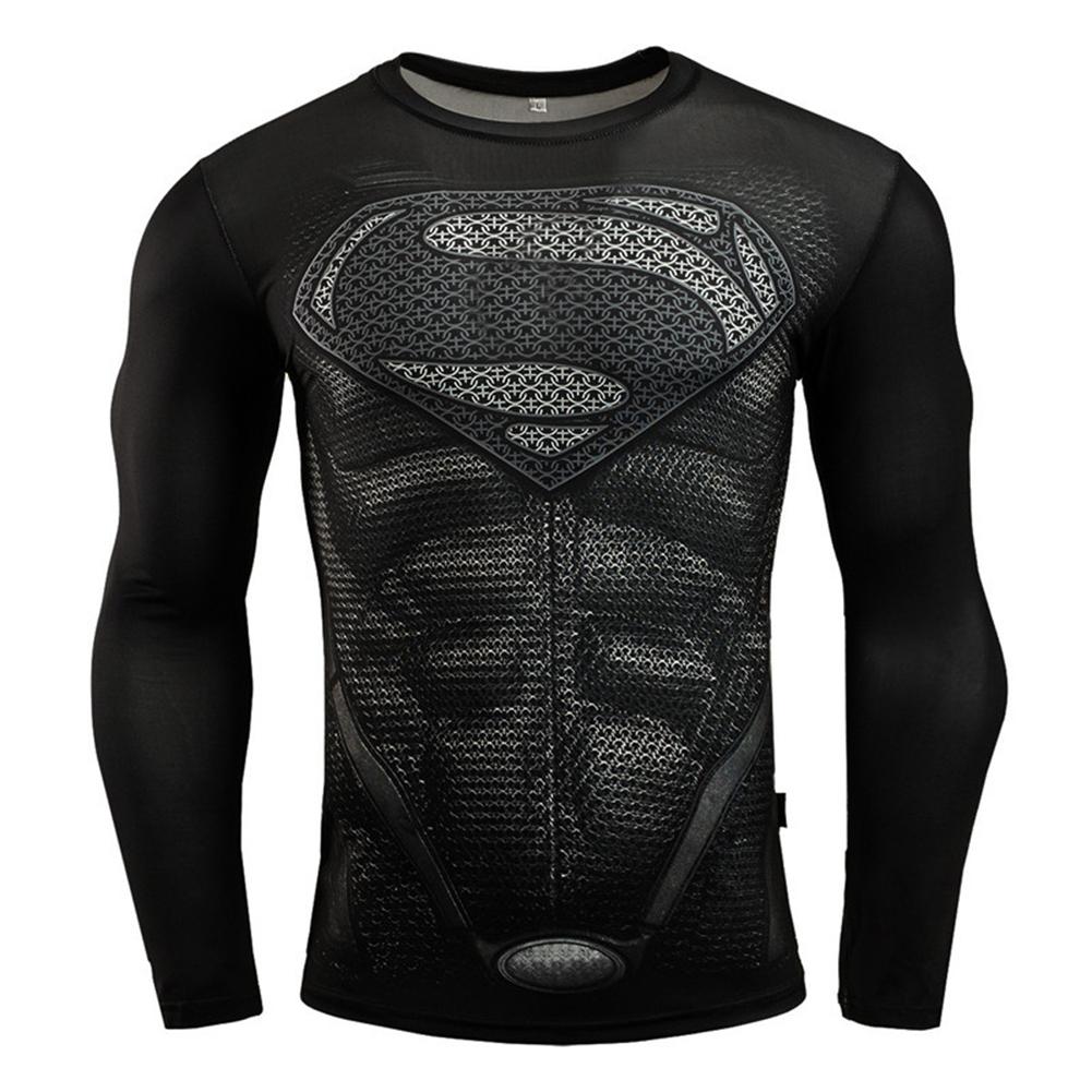 Fitness Compression Shirt Men Anime Printing Bodybuilding Long Sleeve Crossfit 3D Superman Punisher T Shirt  black superman_XXL