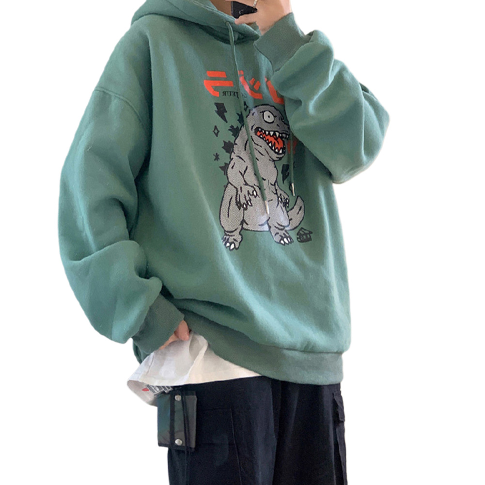 Man Woman Oversize Hoodie Spring Autumn Loose Cartoon Dinosaur Printing Pattern Drawstring Hoodie Green_L