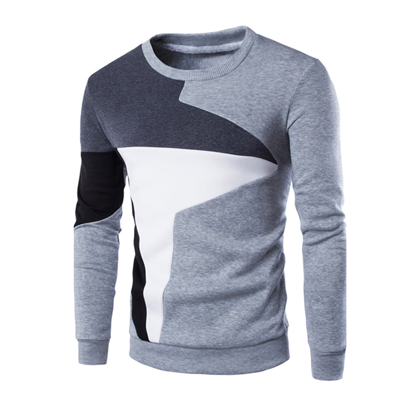Men Fashion Chic Hit Color Long Sleeve Sweater Simple Casual Sweatshirt Pullover light grey_XL