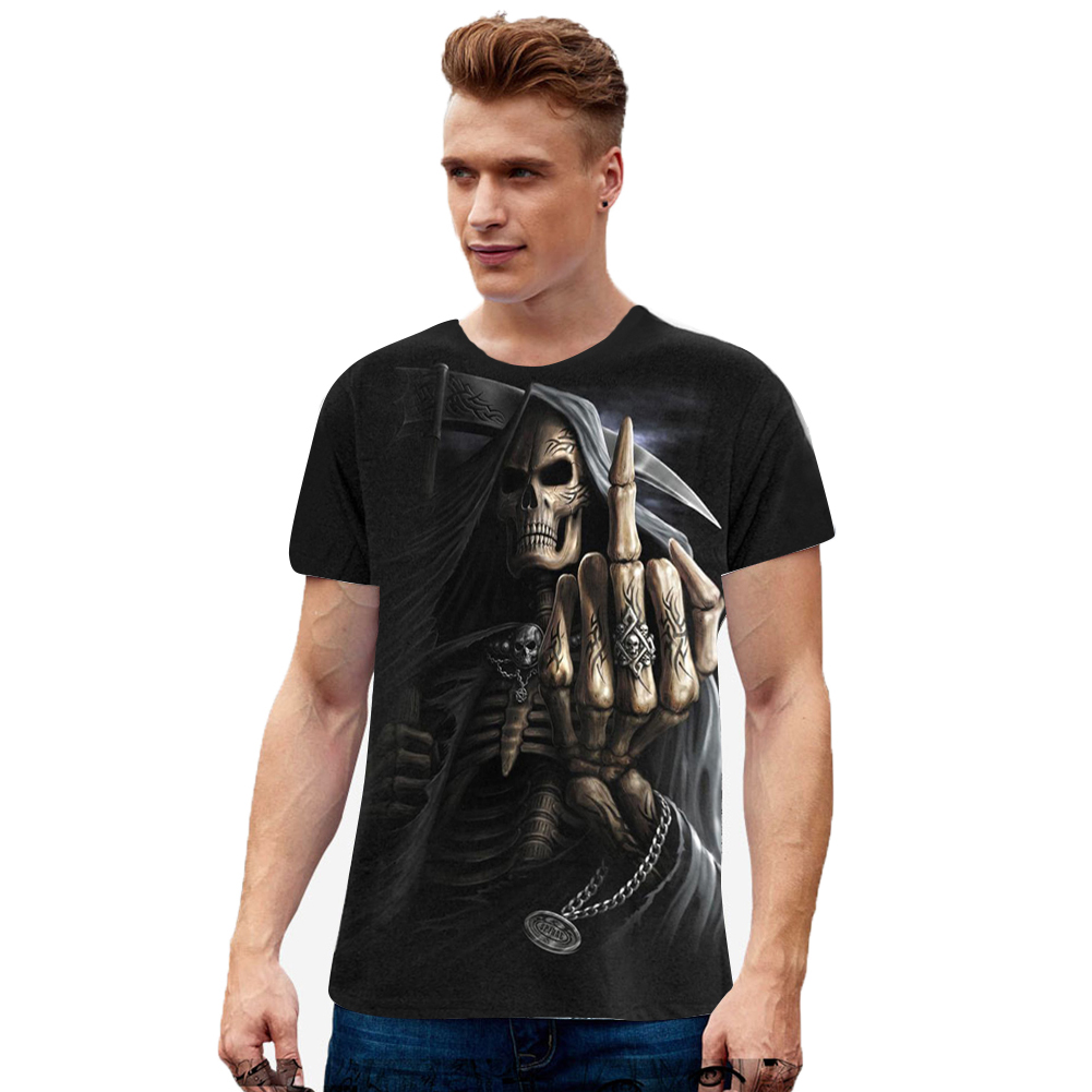 Unisex Cool 3D Skull Digital Printed Round Neck Cotton T-shirt as shown_M