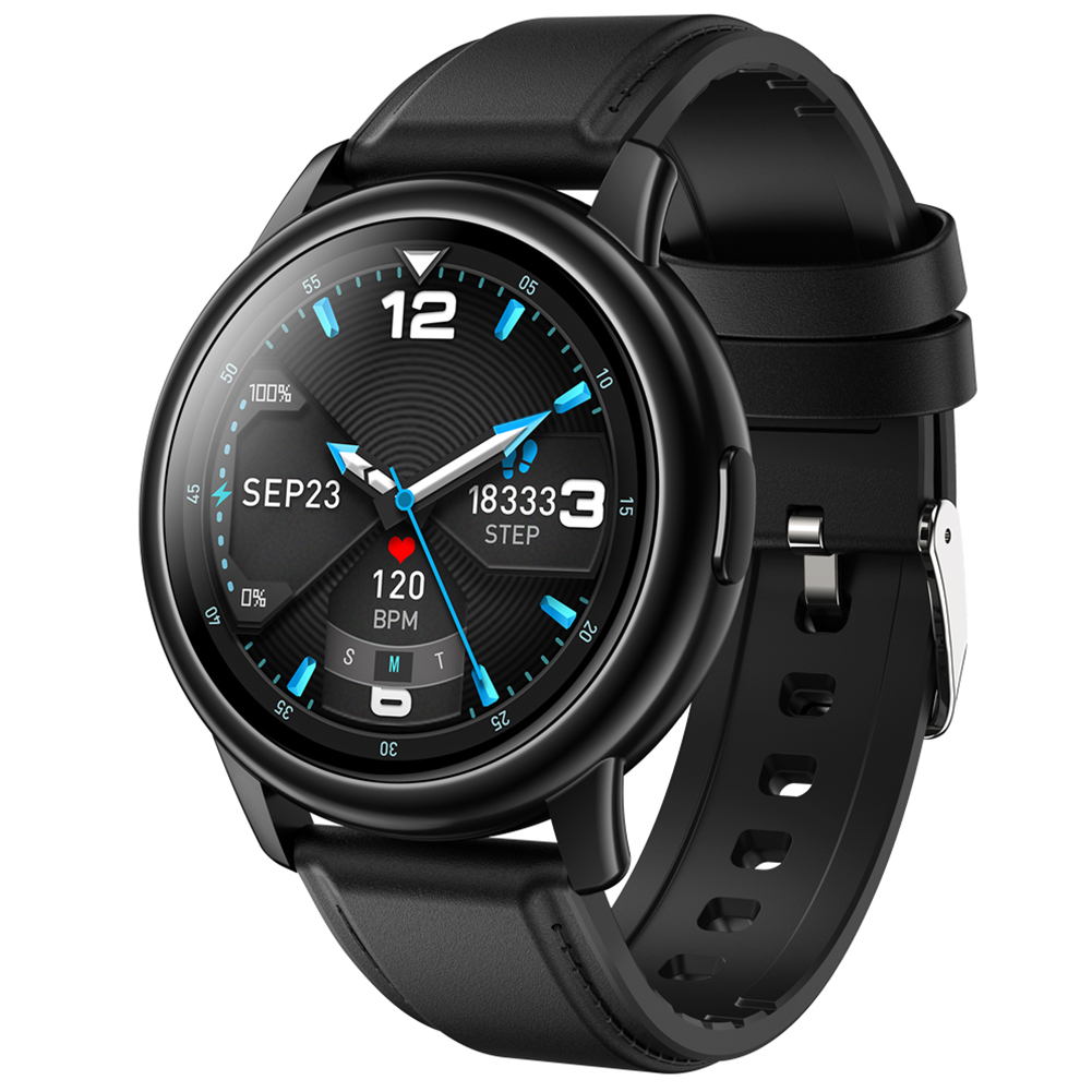 Original LEMFO Lf28 Smartwatch Ip68 Waterproof Heart Rate Monitor Sport Smart Watch 30 Days Standby Black dial black leather belt