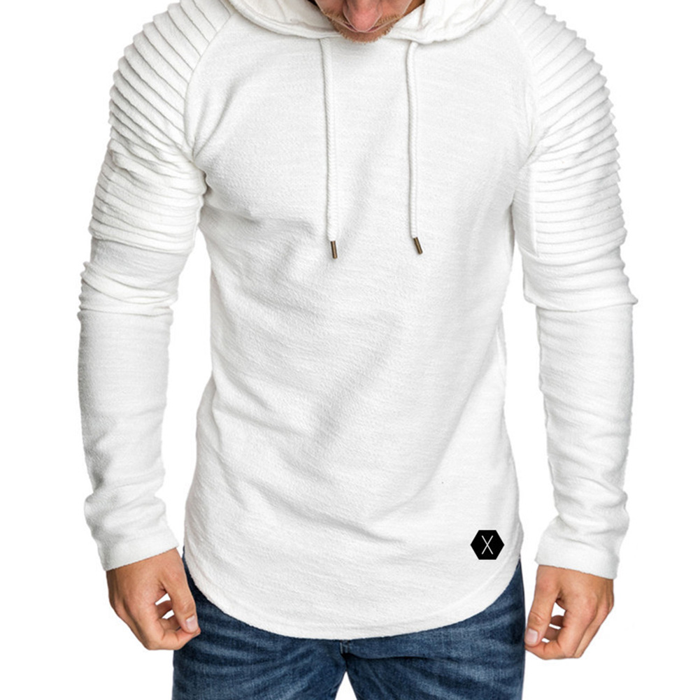 Men Slim Solid Color Long Sleeve T-shirt Casual Hooded Tops Blouse white_M