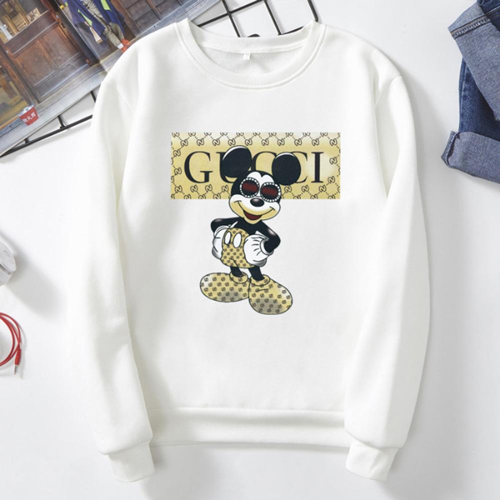 Men Cartoon Sweatshirt Micky Mouse Autumn Winter Loose Student Couple Wear Pullover White_S