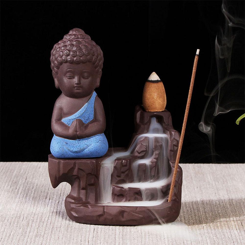 The Little Monk Backflow Incense Burner / Incense Cones Home Decoration Blue incense burner