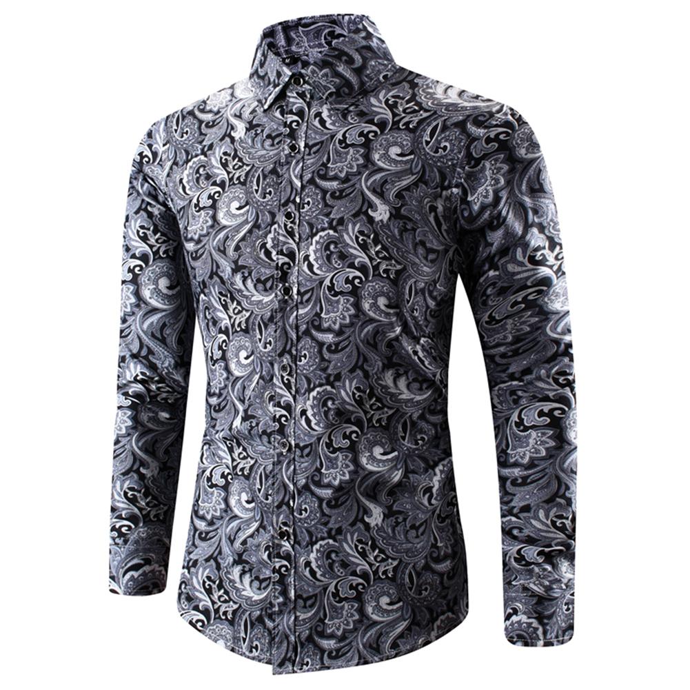 Men Spring And Autumn Simple Fashion Print Long Sleeve Shirt Tops black_L