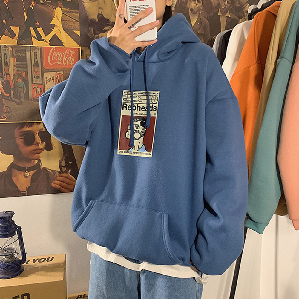 Fleece Hoodies Sweater Thicken Hooded Sweatshirts Casual Loose Pullover for Man blue_L