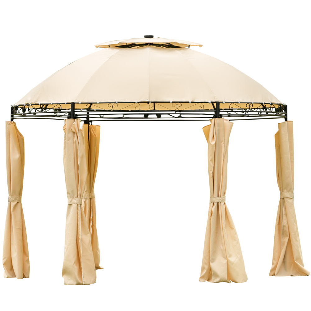 [US Direct] U-style  Gazebo Outdoor Patio Dome Tent With Removable Curtains For Courtyard  Garden Khaki